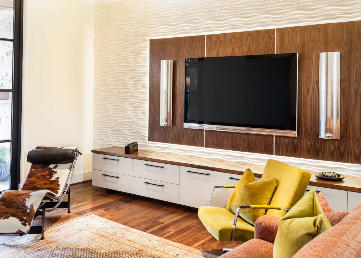 Storage Systems Variety for the Living Room. Wooden panel as a background for TV is a bold designer`s solution