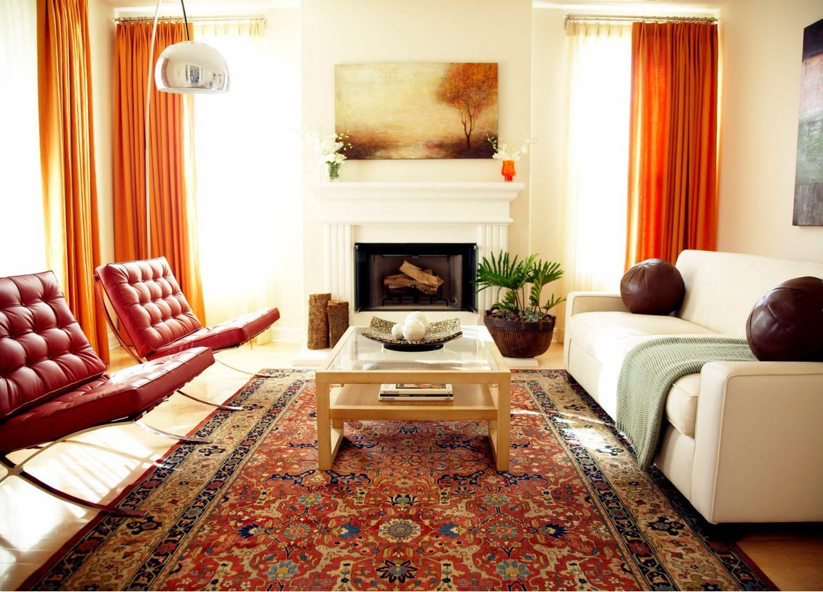 Living Room Curtains Design Ideas 2016. Orange strokes in the interior made by furniture and curtains