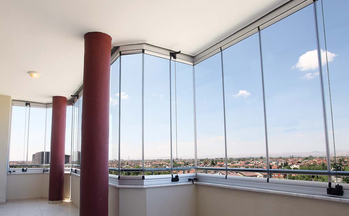 Modern Glazing for Balcony or Loggia. Nice form of the balcony frame