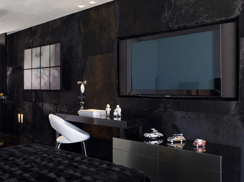 Black Furniture: Interior Design Photo Ideas. TV area fits ideally to the dark interior