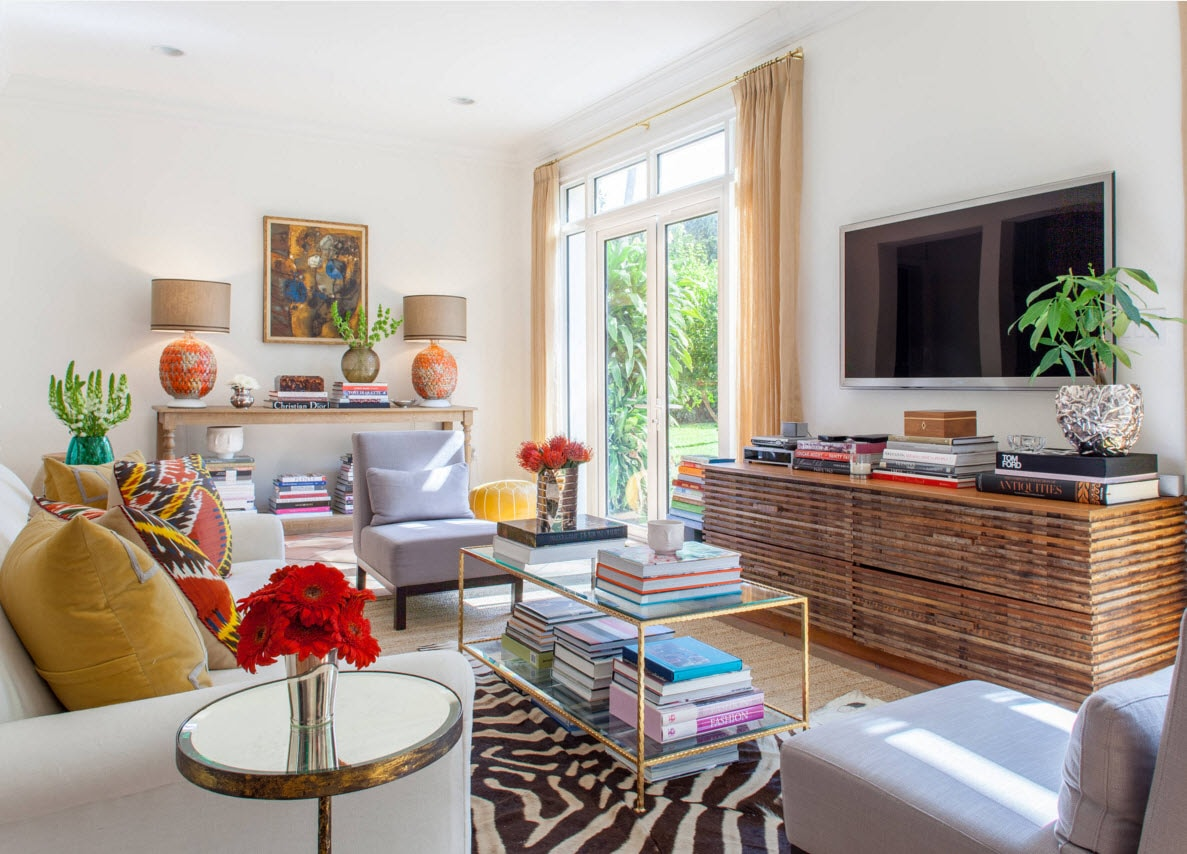 Storage Systems Variety for the Living Room. Colorful and debonair interior decoration with living plants of the spacious room with plenty of space for the storage