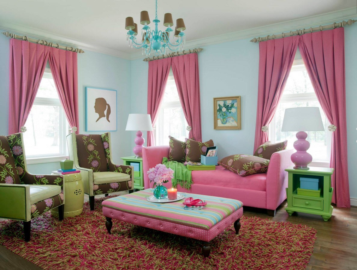 Living Room Curtains Design Ideas 2016. Fairytale is embodied in the colorful pink and turquoise interior