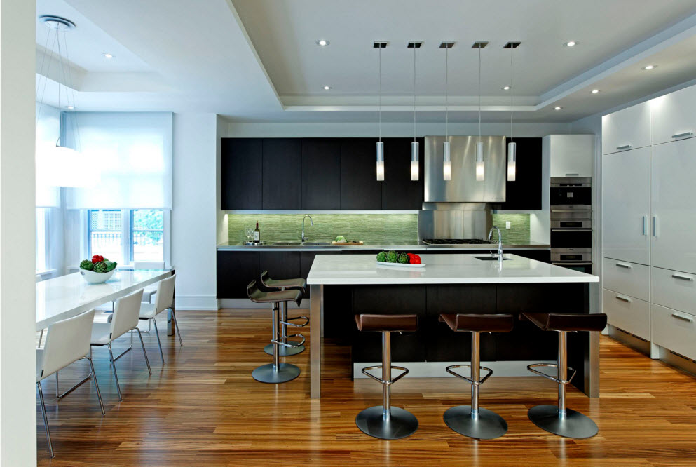 Dining zone and the kitchen in one