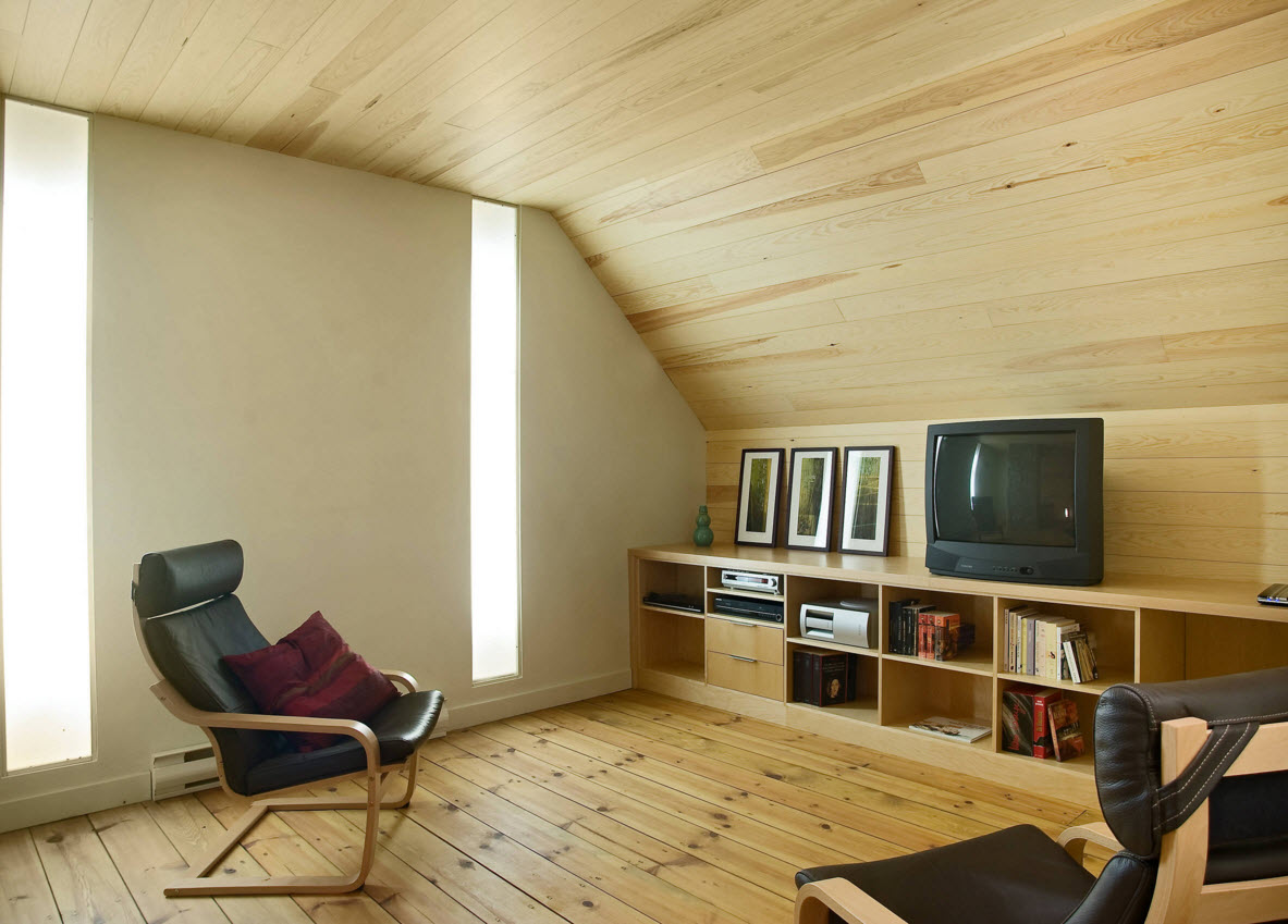 Storage Systems Variety for the Living Room. Completey unique wooden panelled design of the loft area with the open shelves in the bollard