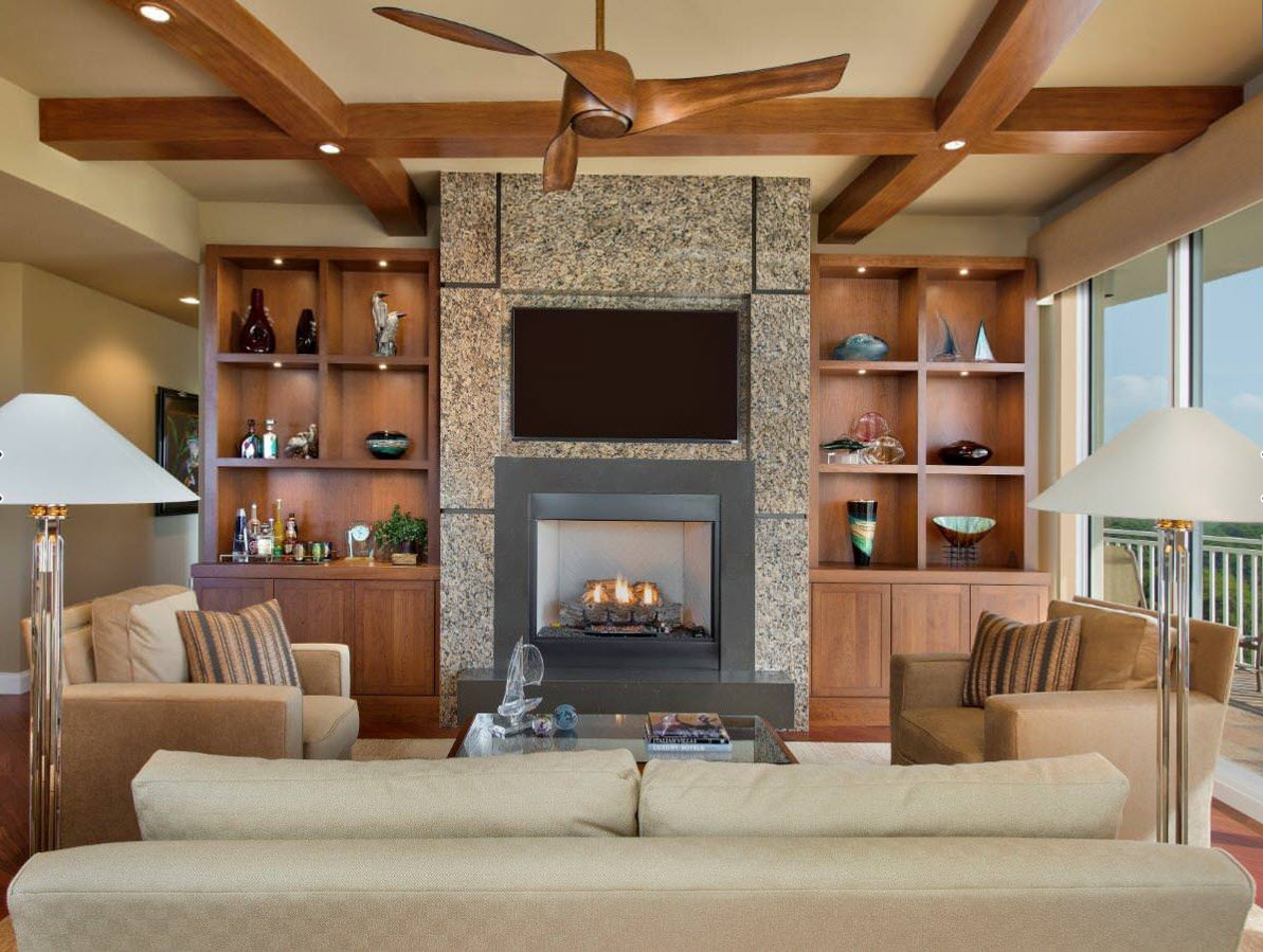 Storage Systems Variety for the Living Room. Noble dark wooden theme in the country styled private house with plenty of shelves and personal little things