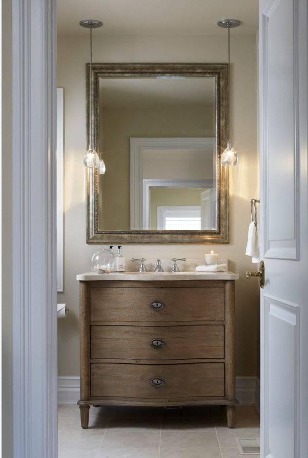 Modern Classics Private House Design Ideas. Drawer and the mirror in the bathroom
