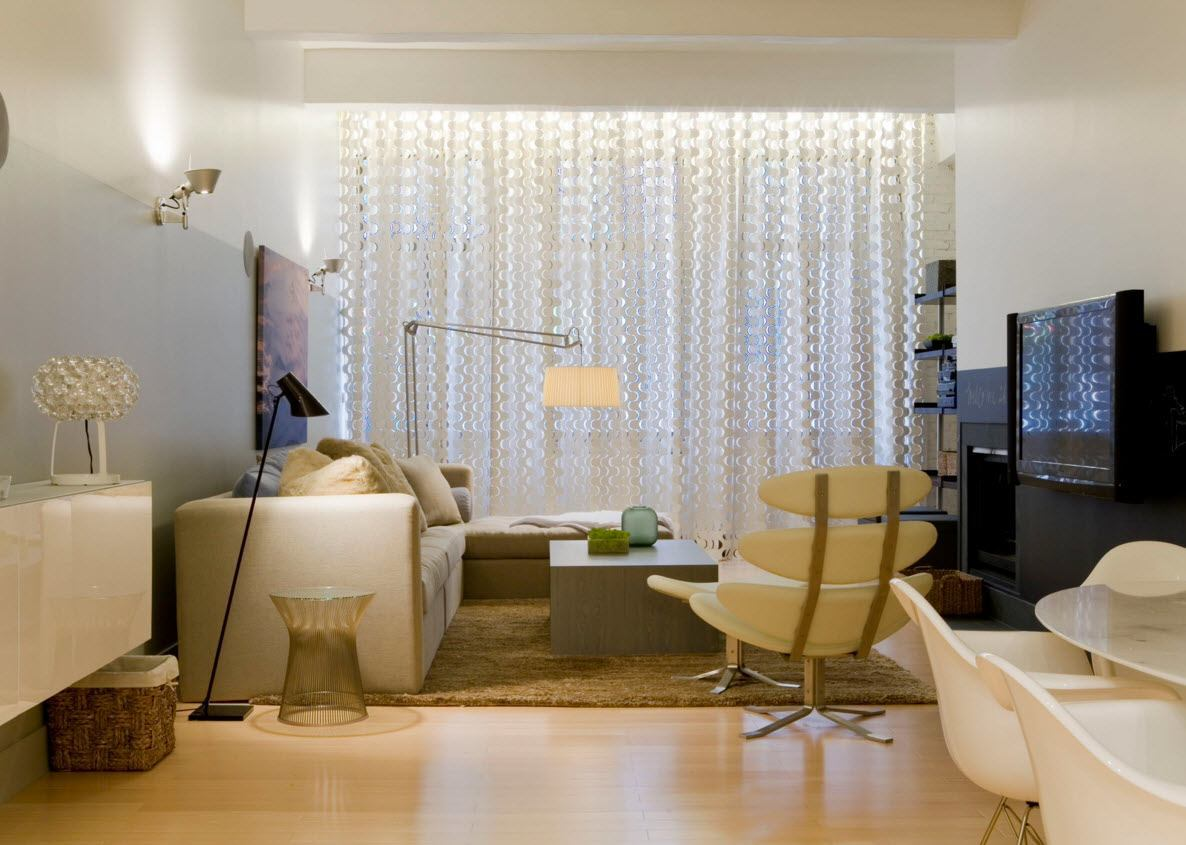 Living Room Curtains Design Ideas 2016. Calm and fresh interior thanks to the tulle drapery at the windows