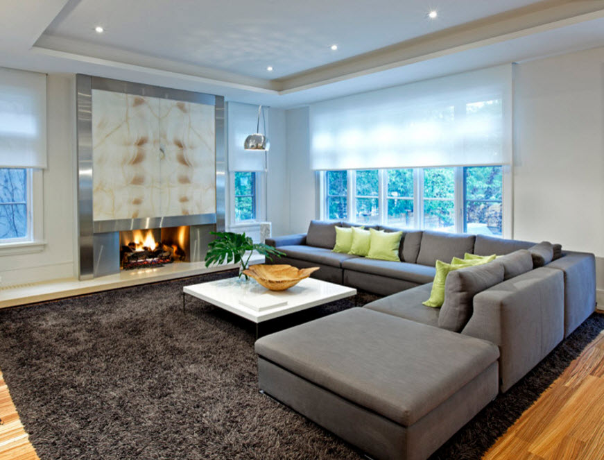 Nice gray themed living room with modular sofa
