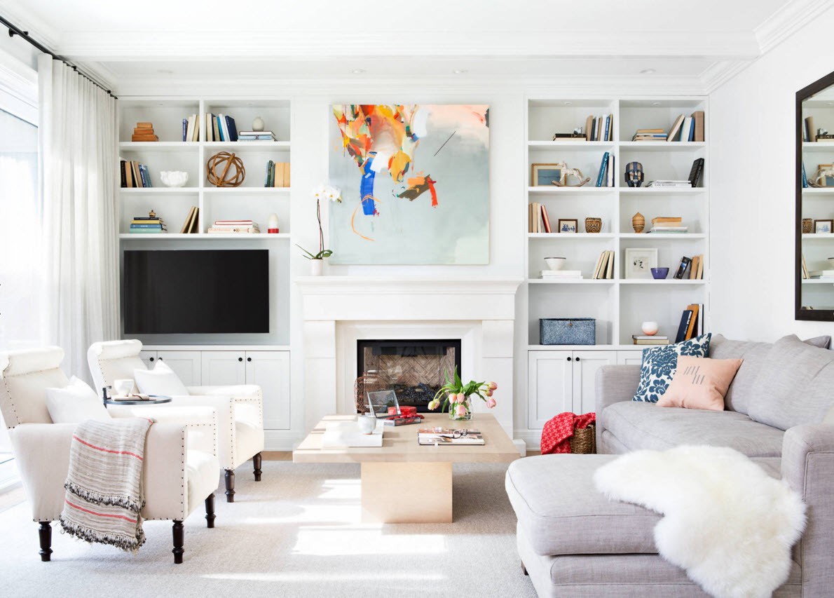 Storage Systems Variety for the Living Room. White interior with matrix of the shelves and colorful paint in the middle of the room