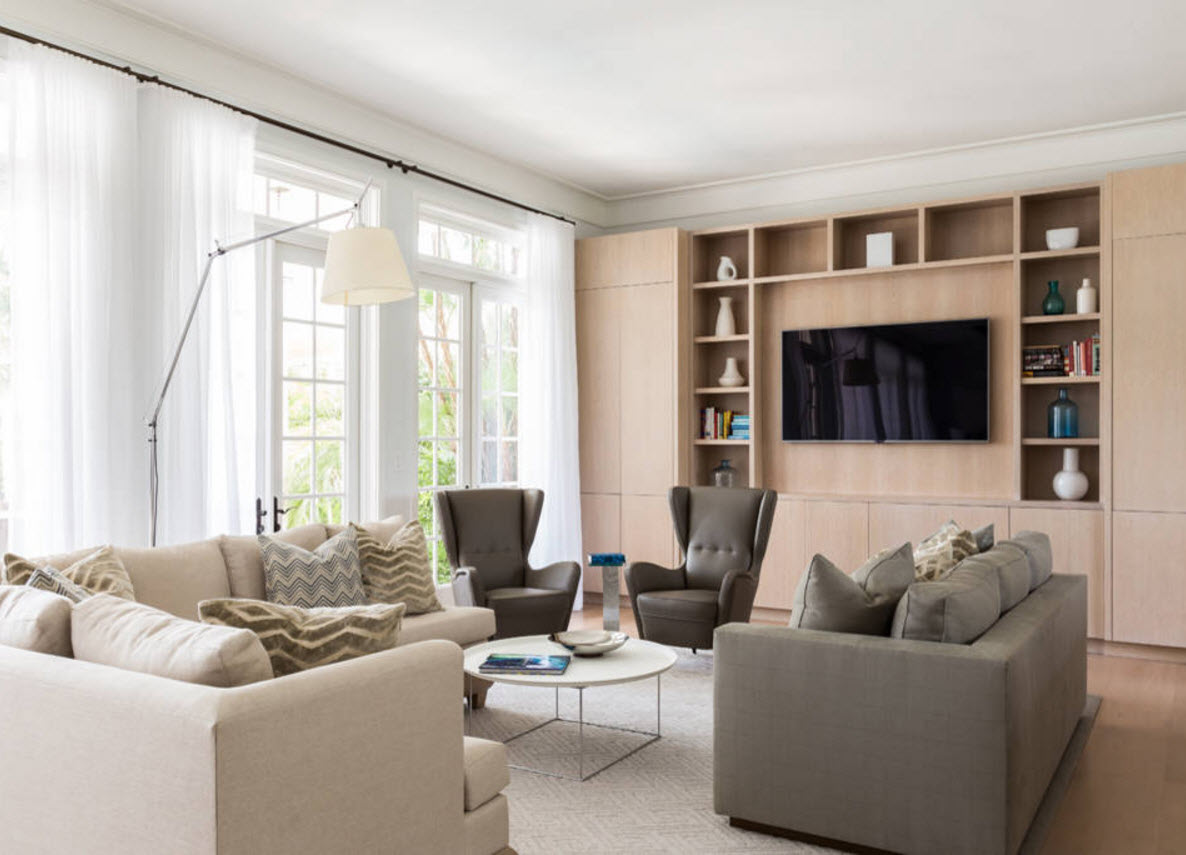 Storage Systems Variety for the Living Room. calm design of the room with large window and the light wooden furniture set at the wall