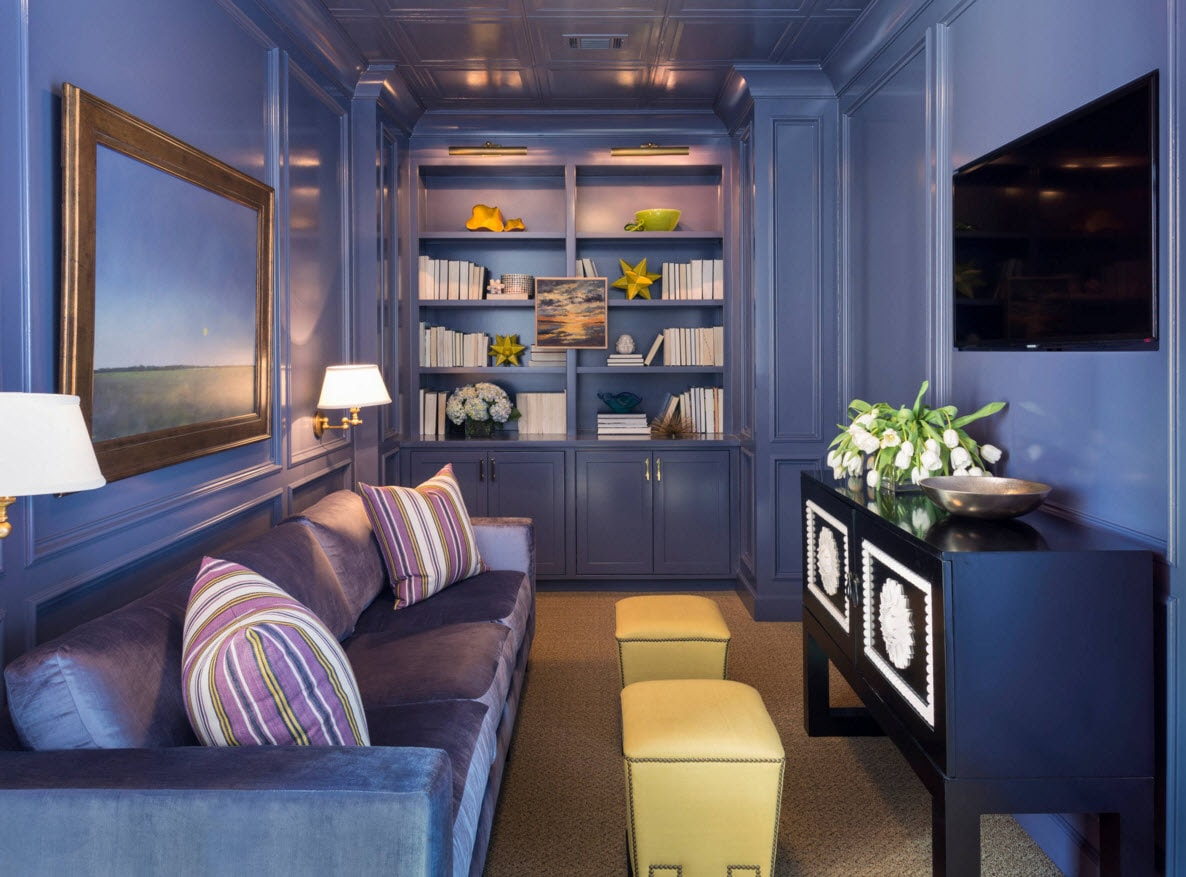 Storage Systems Variety for the Living Room. Blue shade finishing of the room with open shelving at the wall