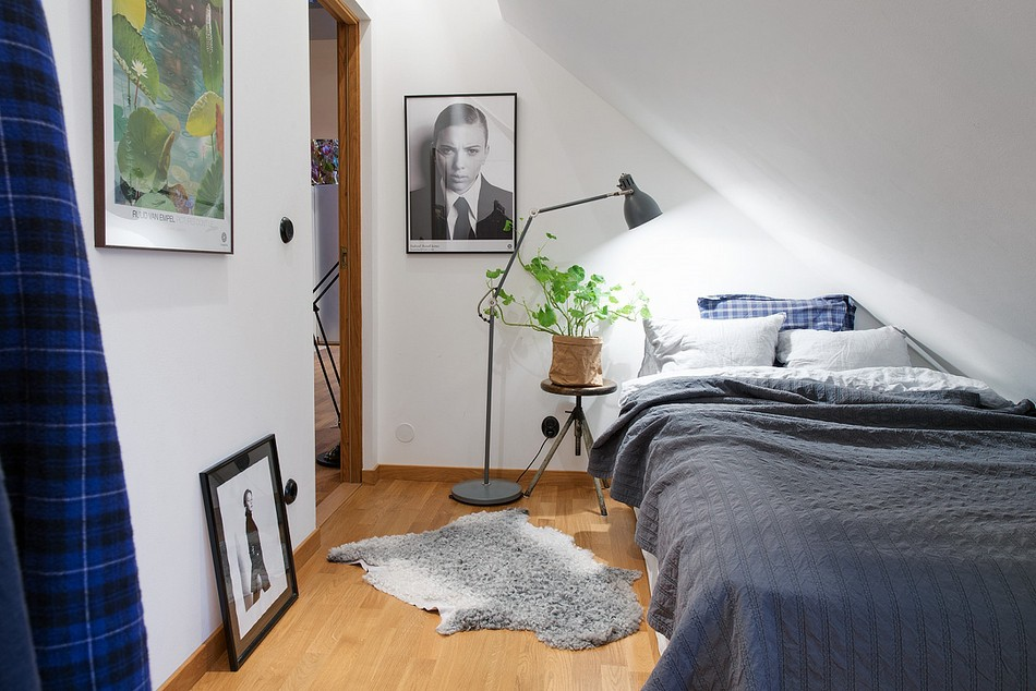Swedish Private House Design Ideas Mix. Standing adjustable lamp and the eco touch in the bedroom interior