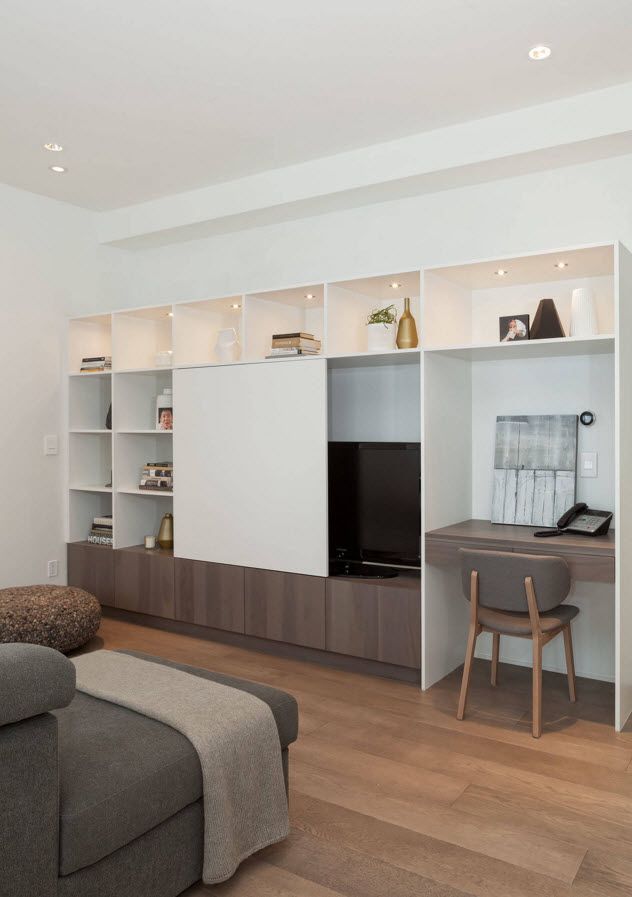 Storage Systems Variety for the Living Room. Nicely done gradient from the lighter ro darker shades and the rational use of the small area with the sliding door of the cabinet which can hide the TV or the shelves for storage