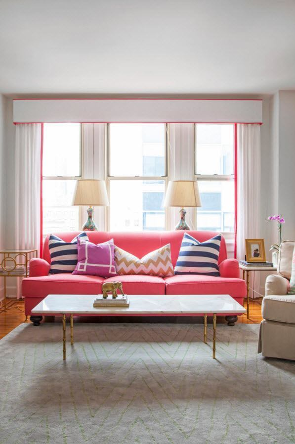 Living Room Curtains Design Ideas 2016. Pink colored couch in the lught neutral interior