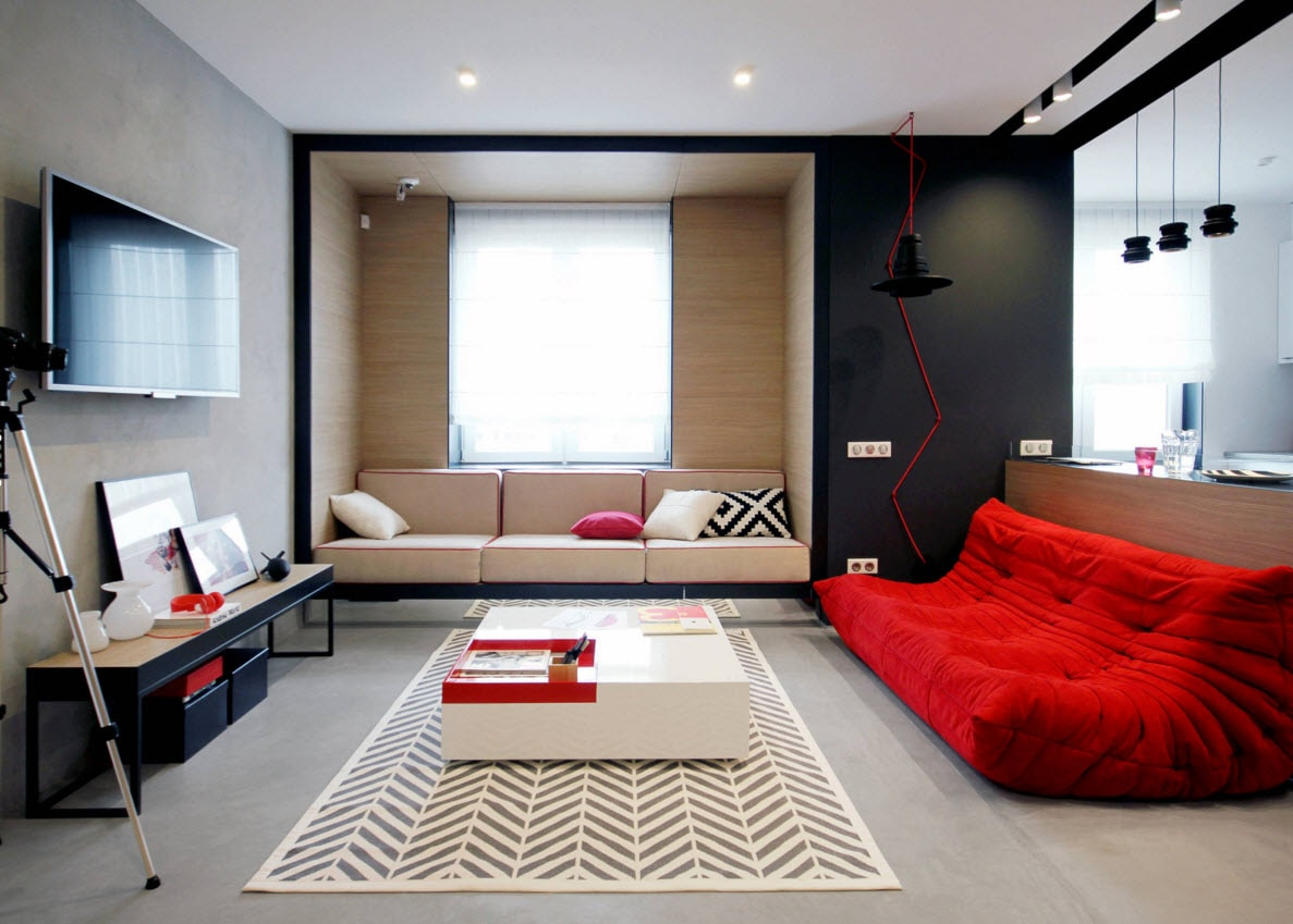 Storage Systems Variety for the Living Room. Red and black mix in the modern pop art and minimalistic mix of design