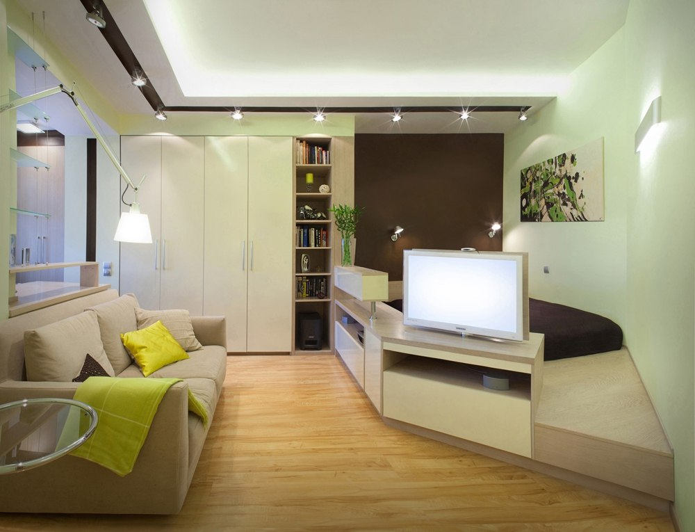 40 Square Meters Irregular Shape Apartment Photo Review. Living room with rest and common zones