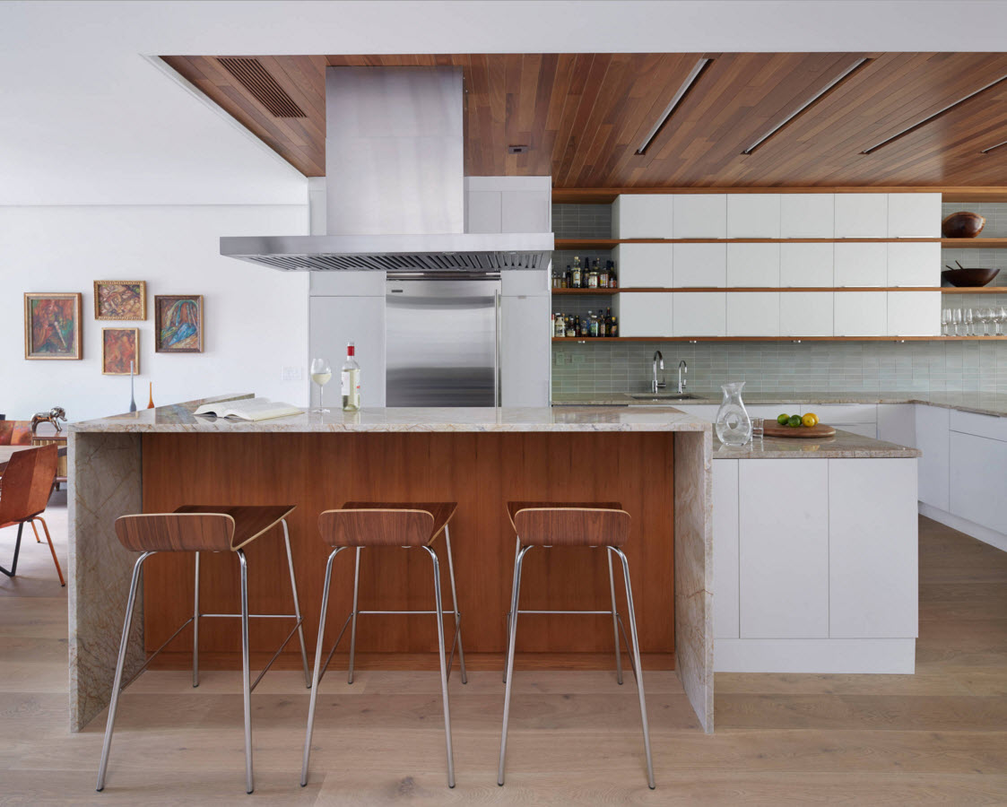 Spectacular wooden design for the kitchen zone of the house
