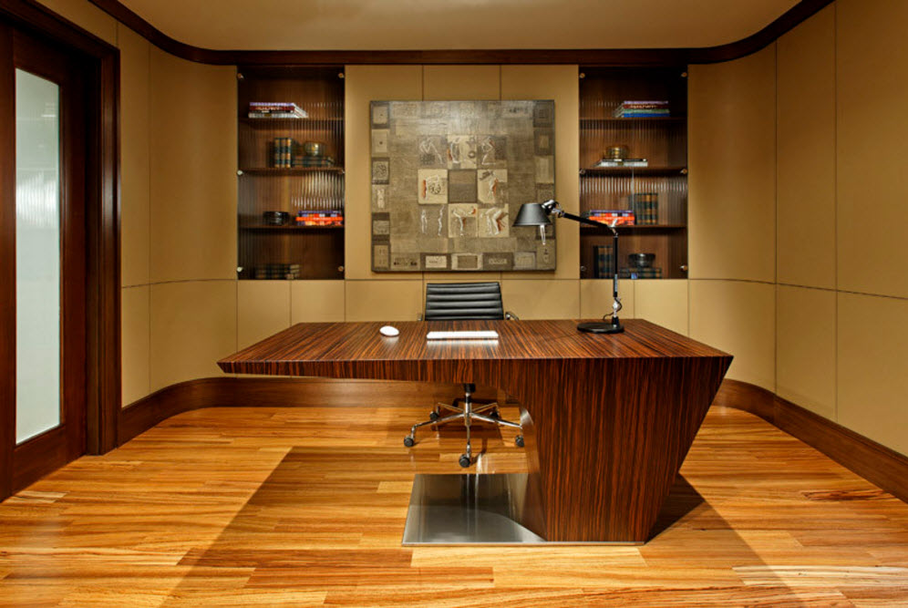 home office with the noble wooden furniture