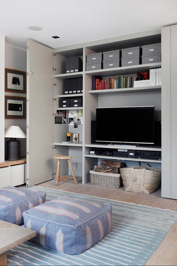 Storage Systems Variety for the Living Room. Small area in the style of the European country with hidden storage