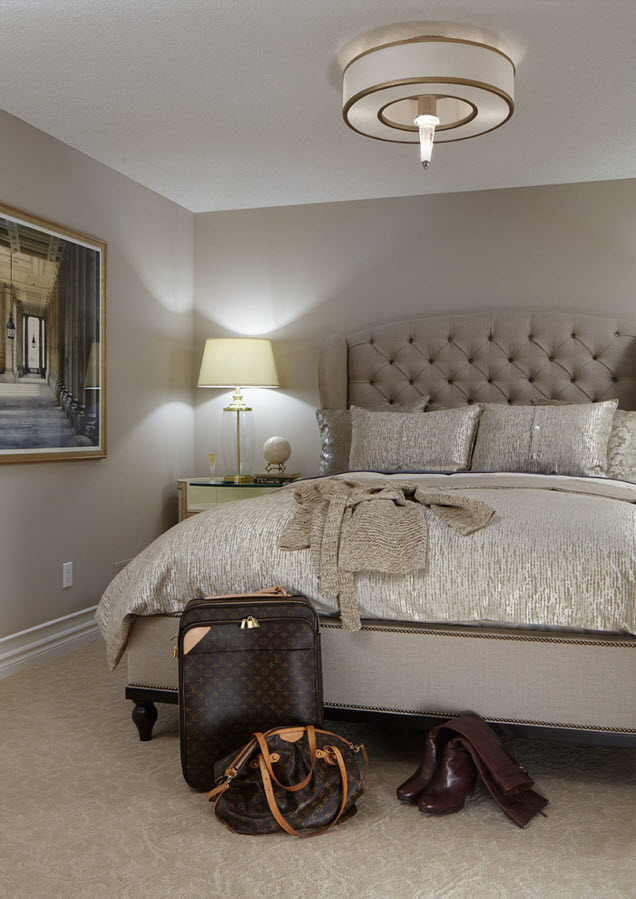 Bedroom with the mere bedside lamps