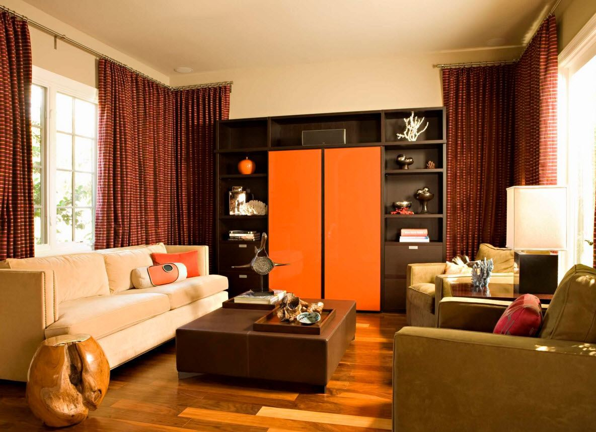 Living Room Curtains Design Ideas 2016. Orange styled modern apartment with corner cornice construction