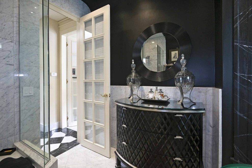 Black Furniture: Interior Design Photo Ideas. Bathroom interior with half-round black nighstand and the mirror with dark frame above it