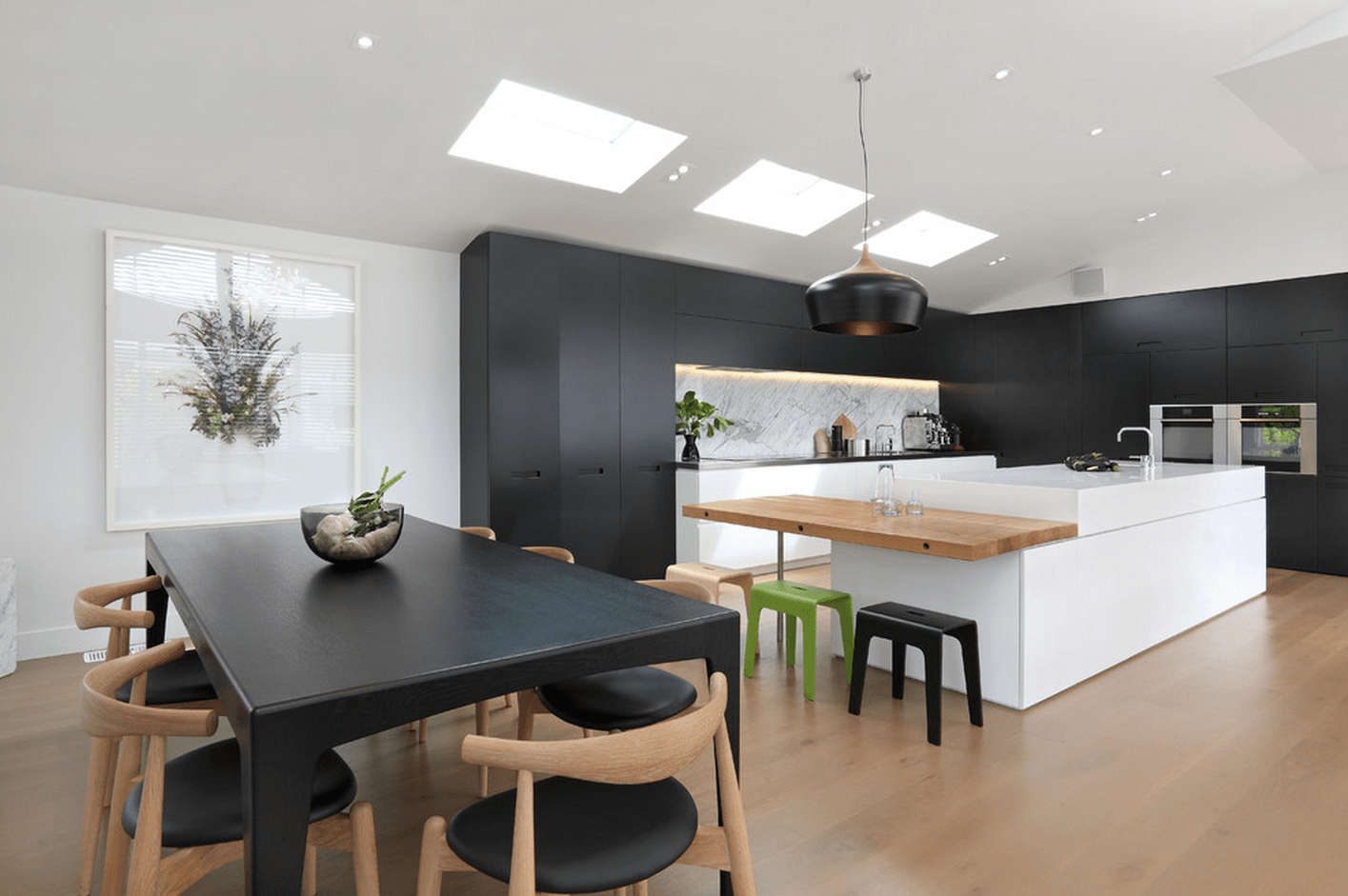 Black Furniture: Interior Design Photo Ideas. Nice hi-tech eco style mix in the large kitchen with light wooden and black intertwining