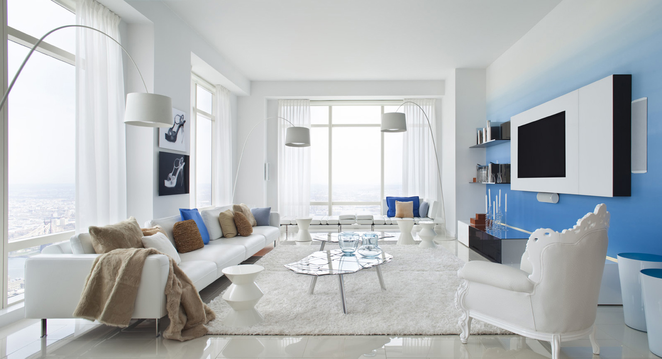Blue Color Decoration Ideas for Living Room. White minimalistic light room with the blue accent wall