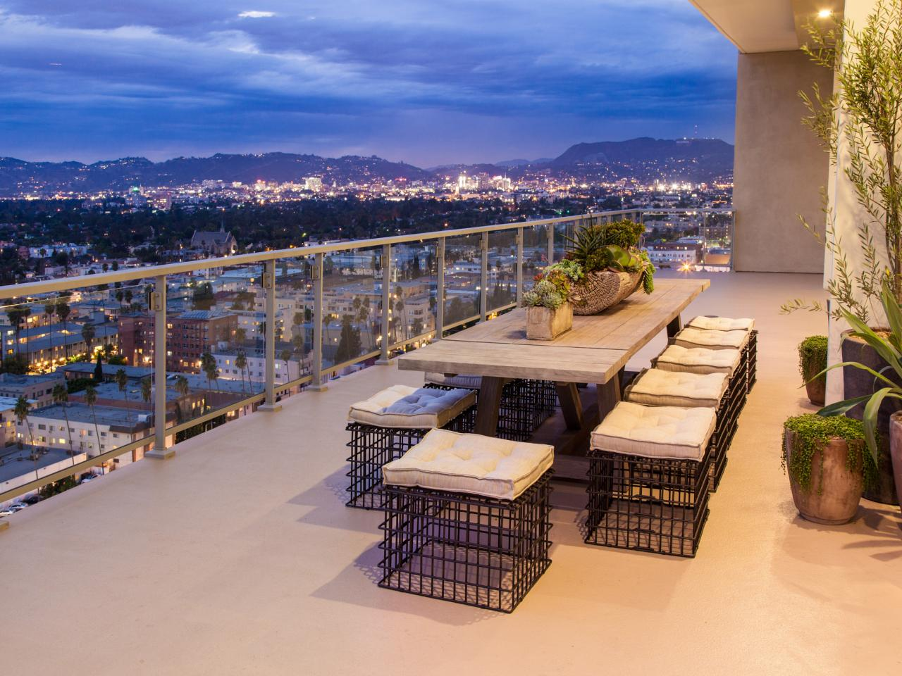 Modern Balconies Interior Design Ideas. Dining furniture set at the open air