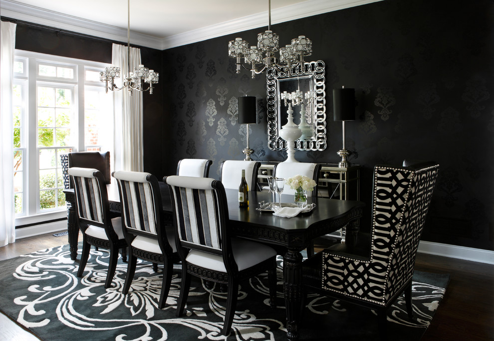 Black Furniture Interior Design Photo Ideas Noble Wooden Chairs At The Dining Ensenble