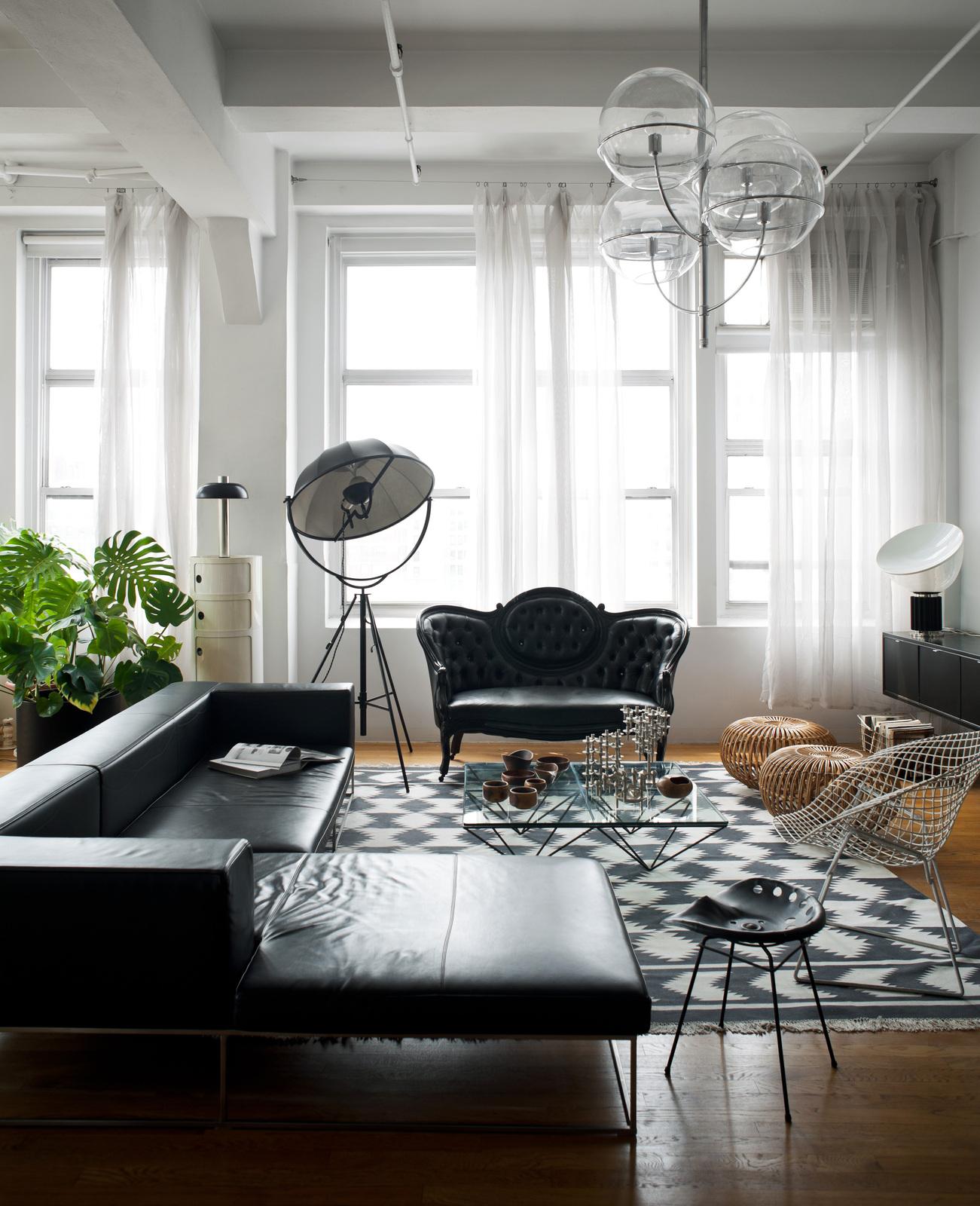 Black furniture interior design photo ideas corner sofa with unusual construction and the ottoman