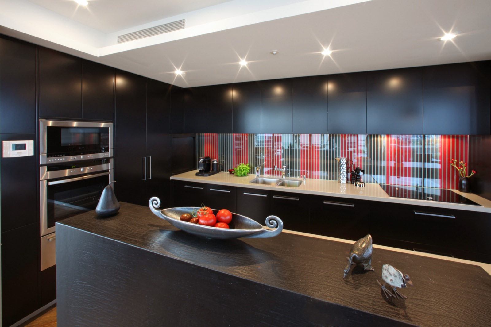 Black Furniture: Interior Design Photo Ideas. Oriental contemporary style of the kitchen with the black and red mix of colors