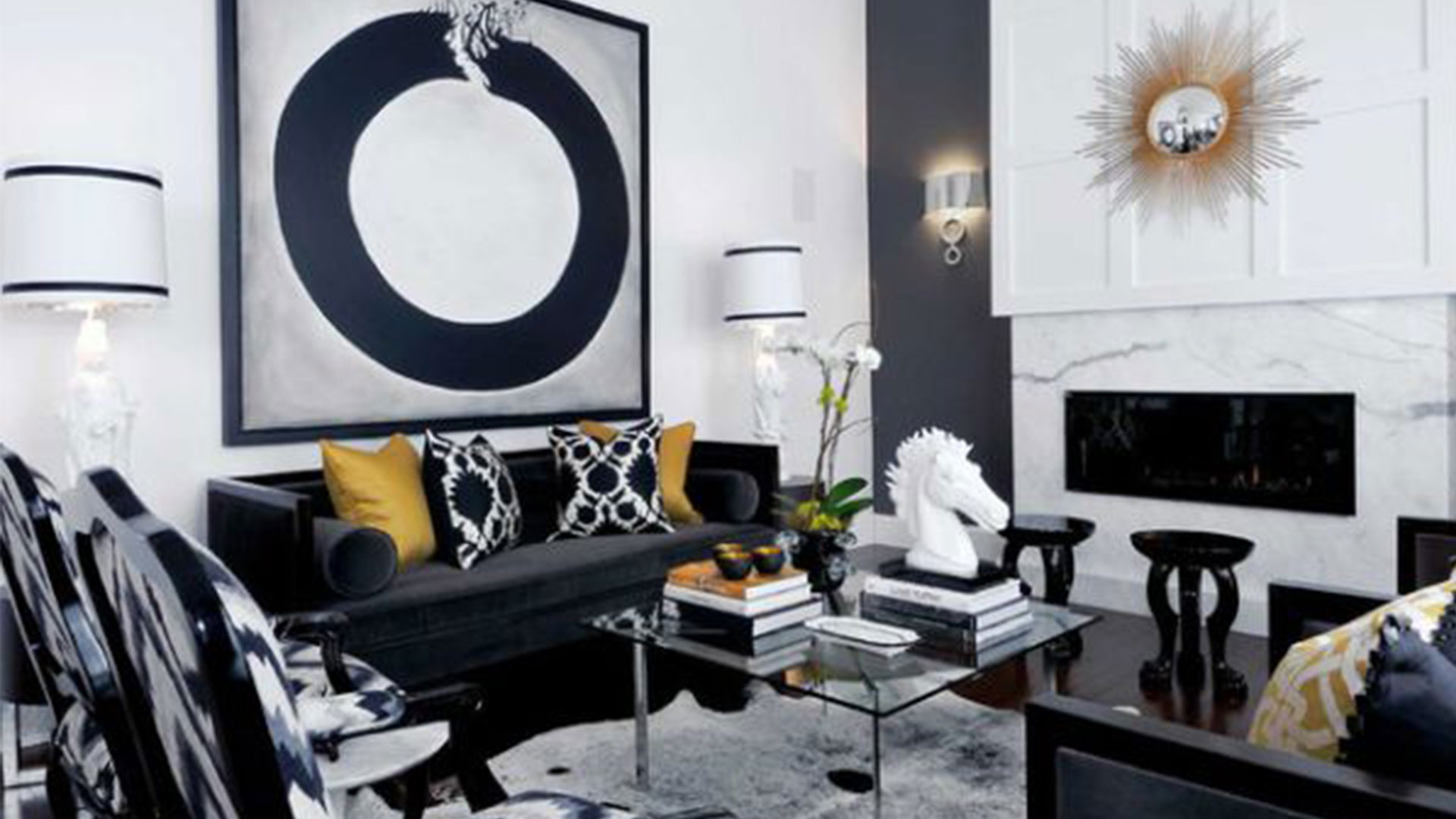 Black Furniture: Interior Design Photo Ideas. Nice pop art design of the apartment with some cool figurines