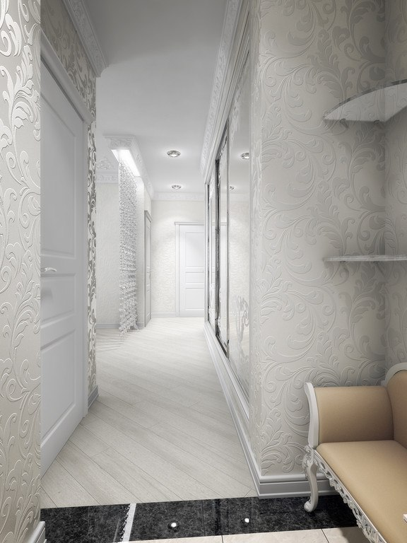 Real Art Deco Apartment Design in Europe. Long angular wallpapered hallway