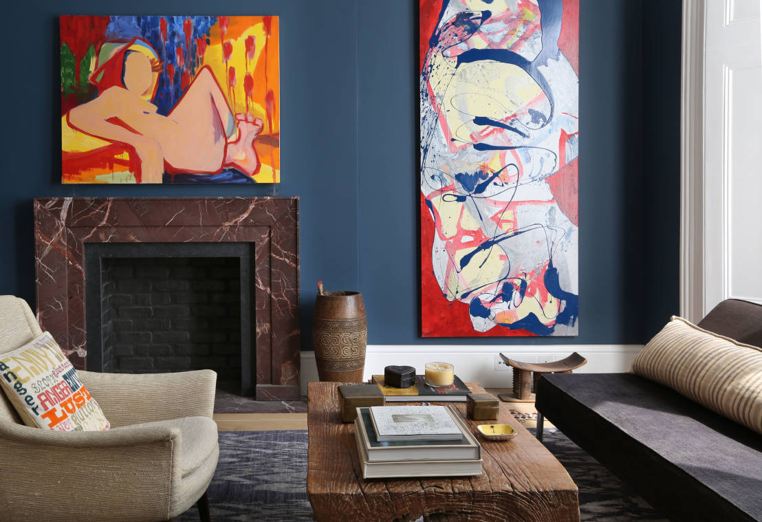 Blue Color Decoration Ideas for Living Room. Artistic approach for the premise`s finish