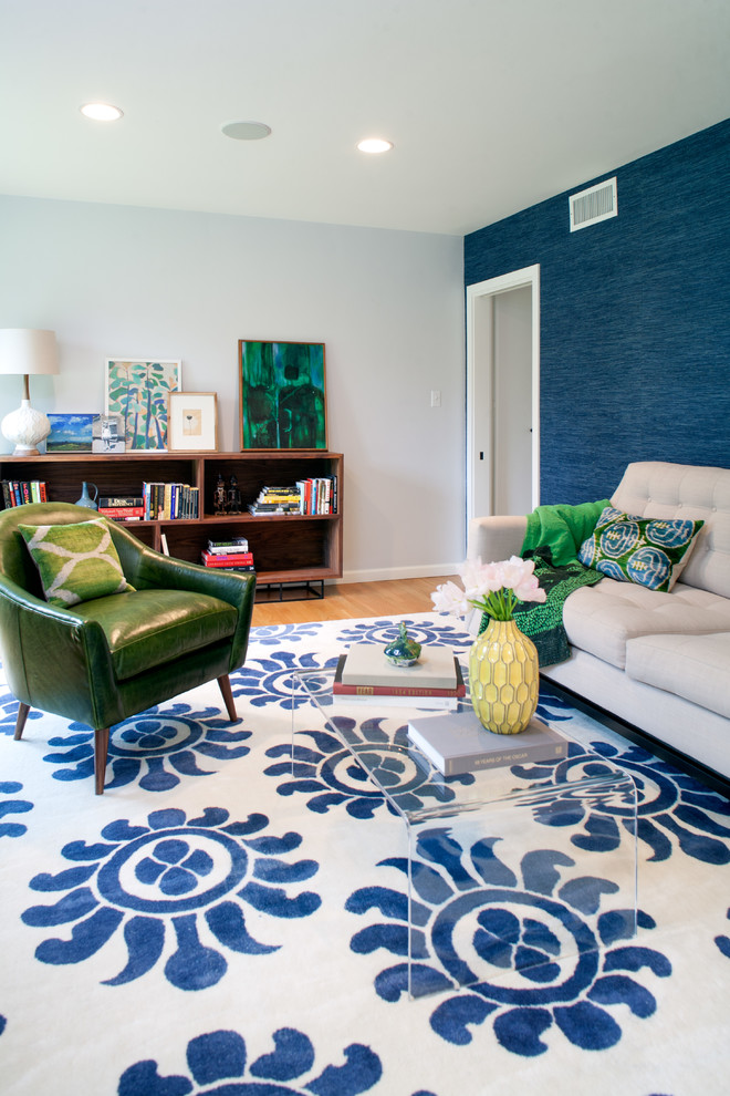 Blue Color Decoration Ideas for Living Room. Nice decor of the carpet with the blue pattern