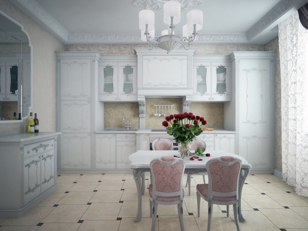 Real Art Deco Apartment Design in Europe. Nice fresh touch of living plants at the kitchen with white carved furniture set