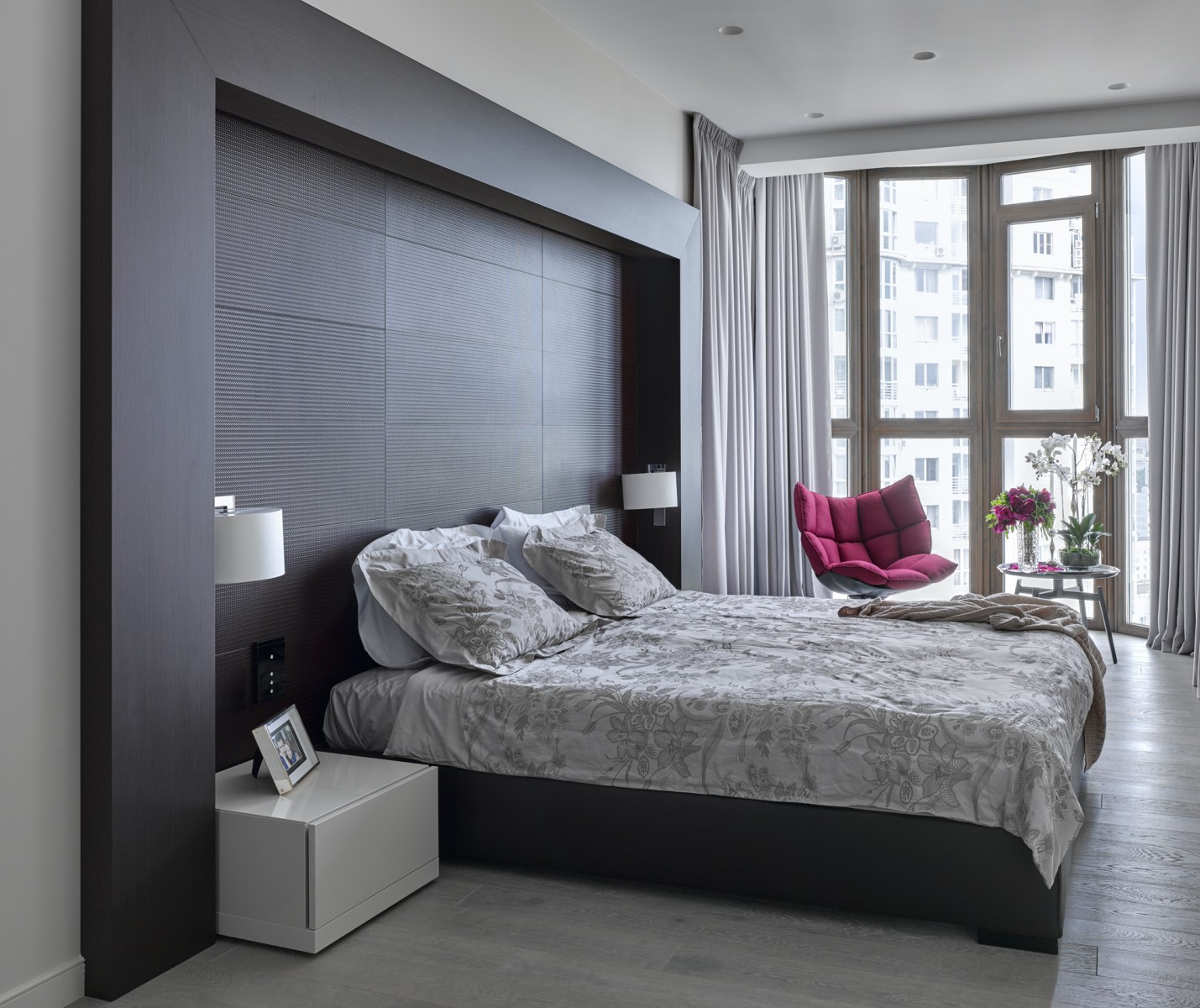 Apartments and Condos Design Projects 2016. nice gray decoration of the headboard wall with the ledge in the ultramodern bedroom