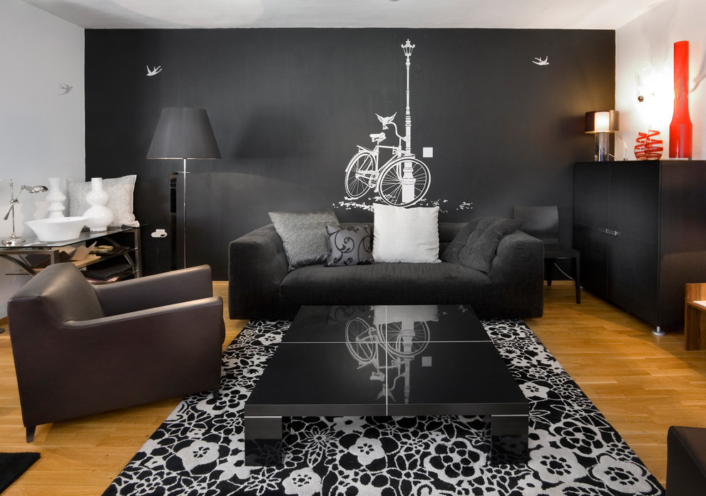 Black Furniture: Interior Design Photo Ideas. Dark interior with noble wooden floor and the contrasting painted carpet