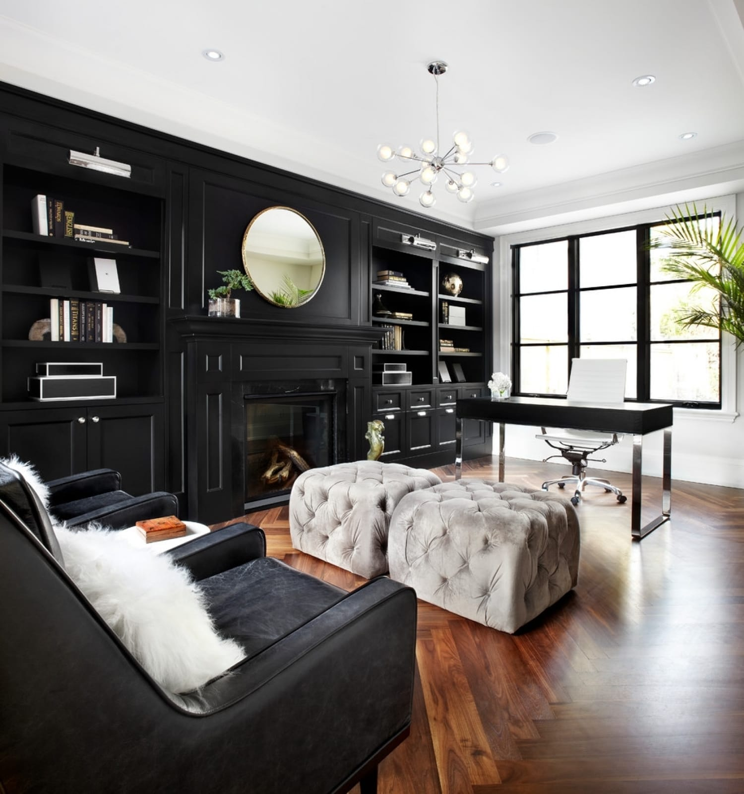 Black Furniture: Interior Design Photo Ideas. Black accent wall with the mirror is a bold designer`s solution for the noble classic styled interior with the touch of art deco