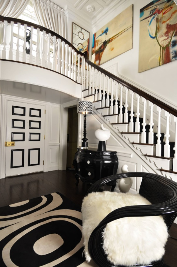 Great house interior in successfully blended white and black contrast and royal looking glance