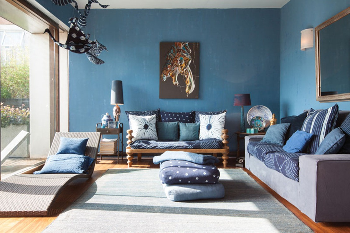 blue color decoration ideas for living room - small design ideas
