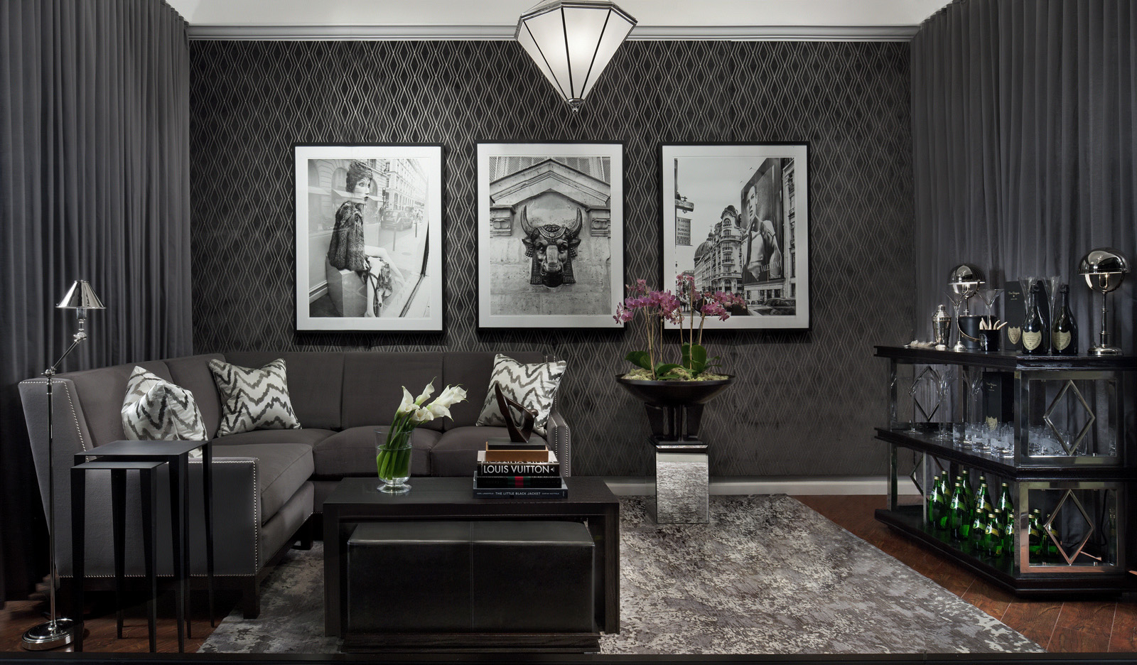 Black Furniture: Interior Design Photo Ideas. Dark wallpaper with pattern and the nappy dark gray rug on the canter of the room