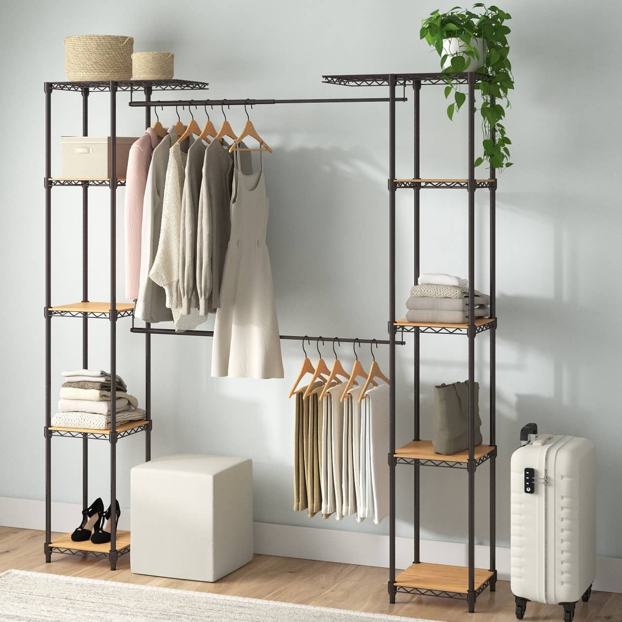 Freestanding closet with shelves and hanger