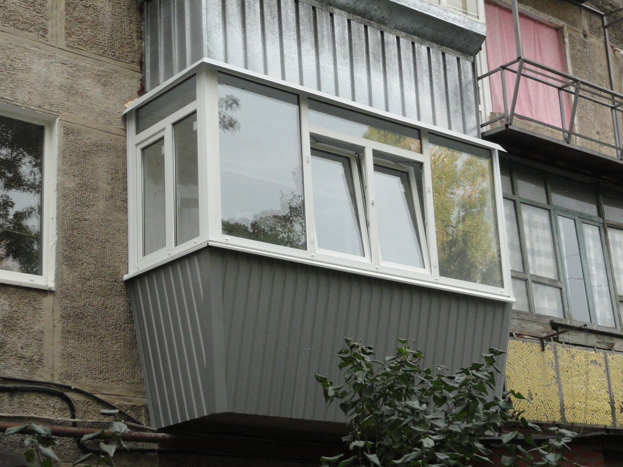 Modern Glazing for Balcony or Loggia. Original form of the balcony for the conveneint apartment