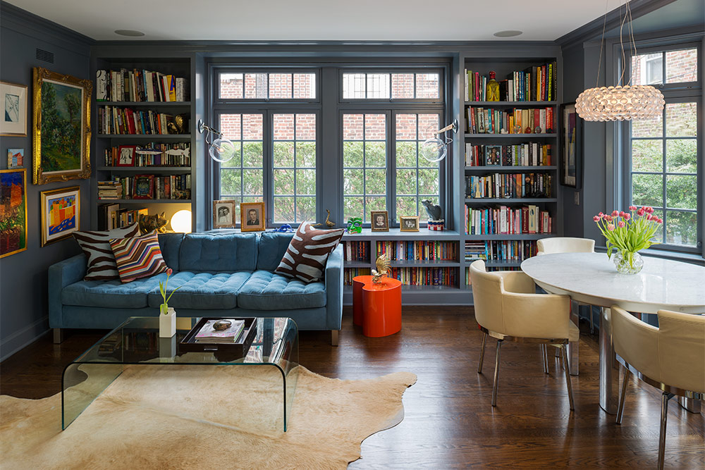 Blue Color Decoration Ideas for Living Room. Library with leather couch