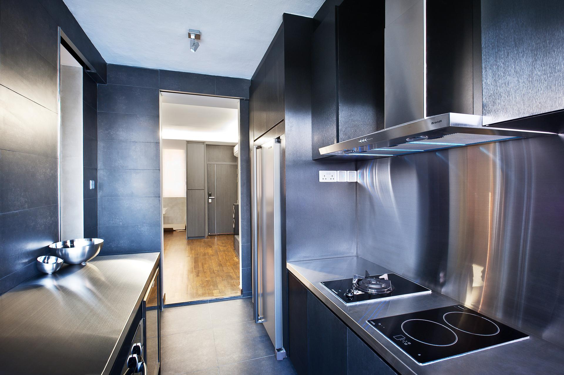 Black Furniture: Interior Design Photo Ideas. Hi-tech styled tiny all-functional kitchen with dark steel surfaces