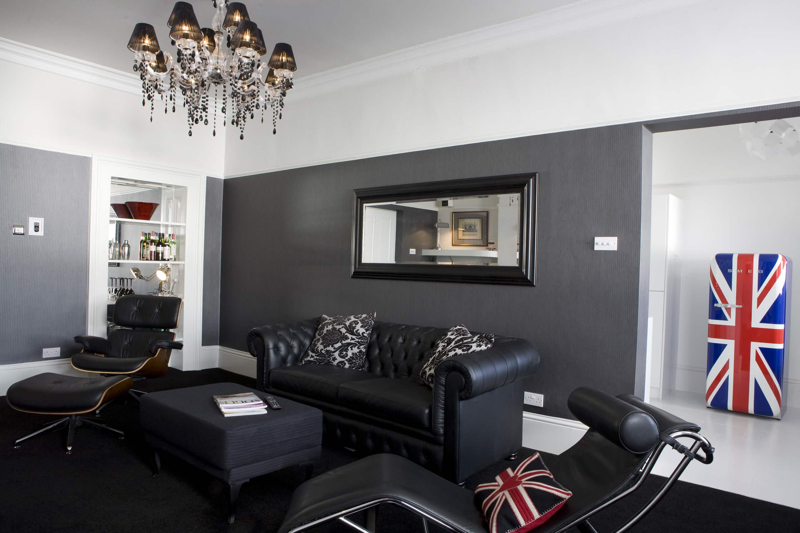 Great Furniture Modern Living Room With Black Leather Chaise  · Black Furniture: Interior  Design ...