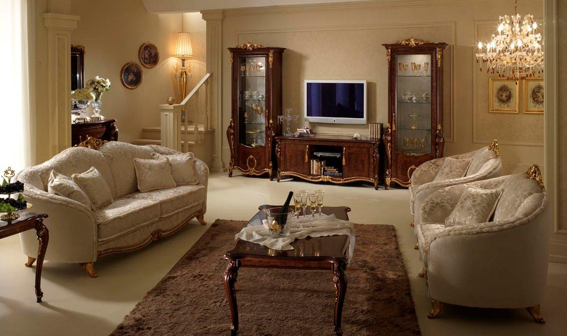 Classic Style Furniture fro Practical Chic Interiors. Private house living room with th entry to stairs in white decoration
