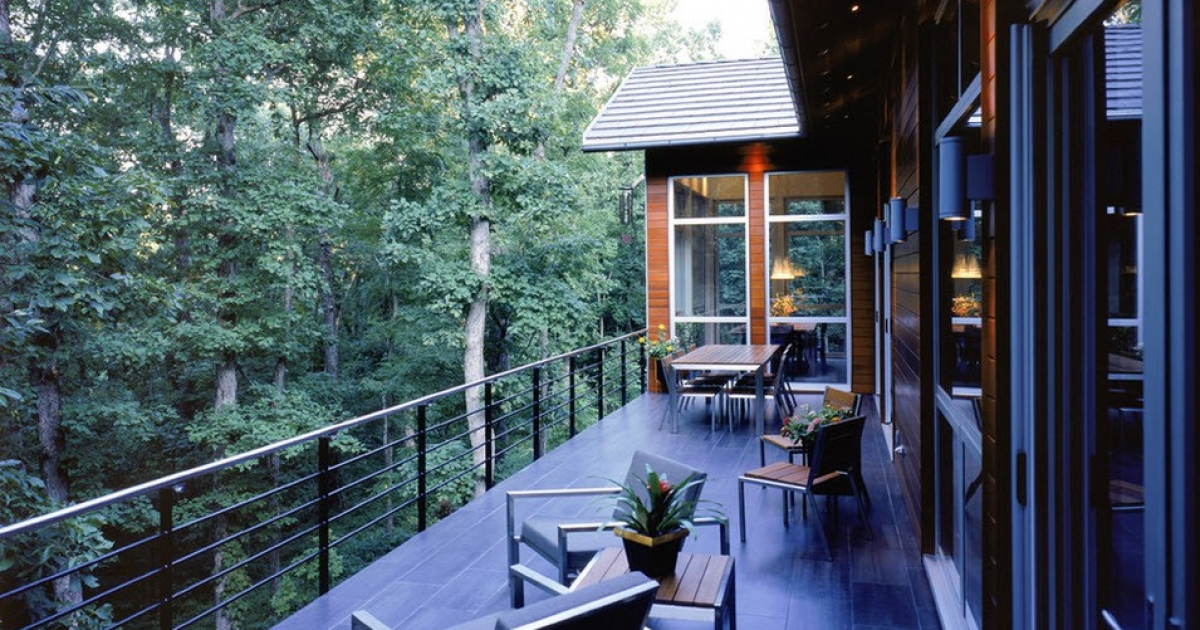 Modern Balconies Interior Design Ideas. Private house in the forest with the open terrace of dark wooden floor